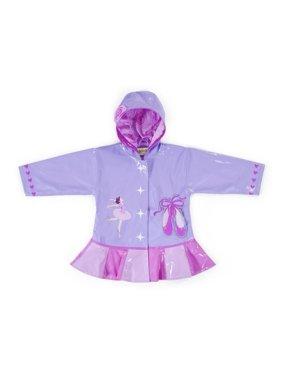 Little Girls Lilac Pink Ballerina Hooded Rain Coat 2T-6X