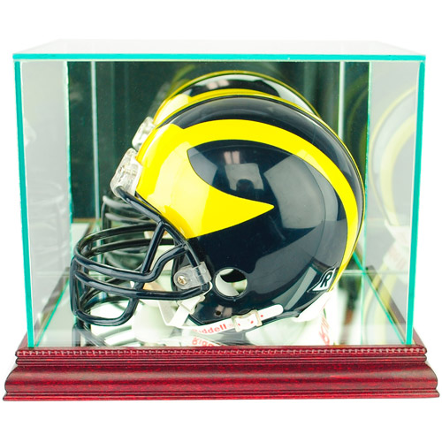 Perfect Cases Mini Football Helmet Display Case, Cherry Finish
