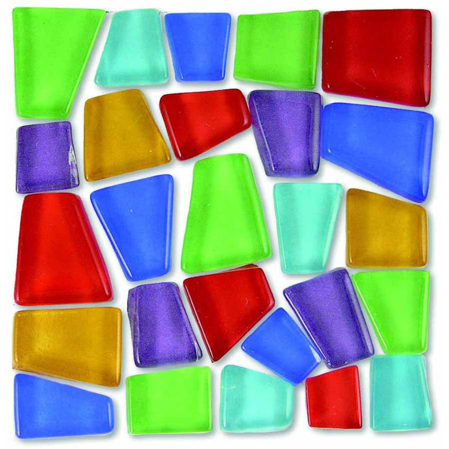 "Mosaic Mercantile Glass Crafter's Cut Irregular Mosaic Tile, 0.75"" to 0.37"", Assorted Colors, Multiple Weights"