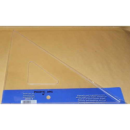 PACIFIC ARC 2045C08 TRIANGLE 45/90 CLEAR ACRYLIC PLAIN EDGE 8 INCH