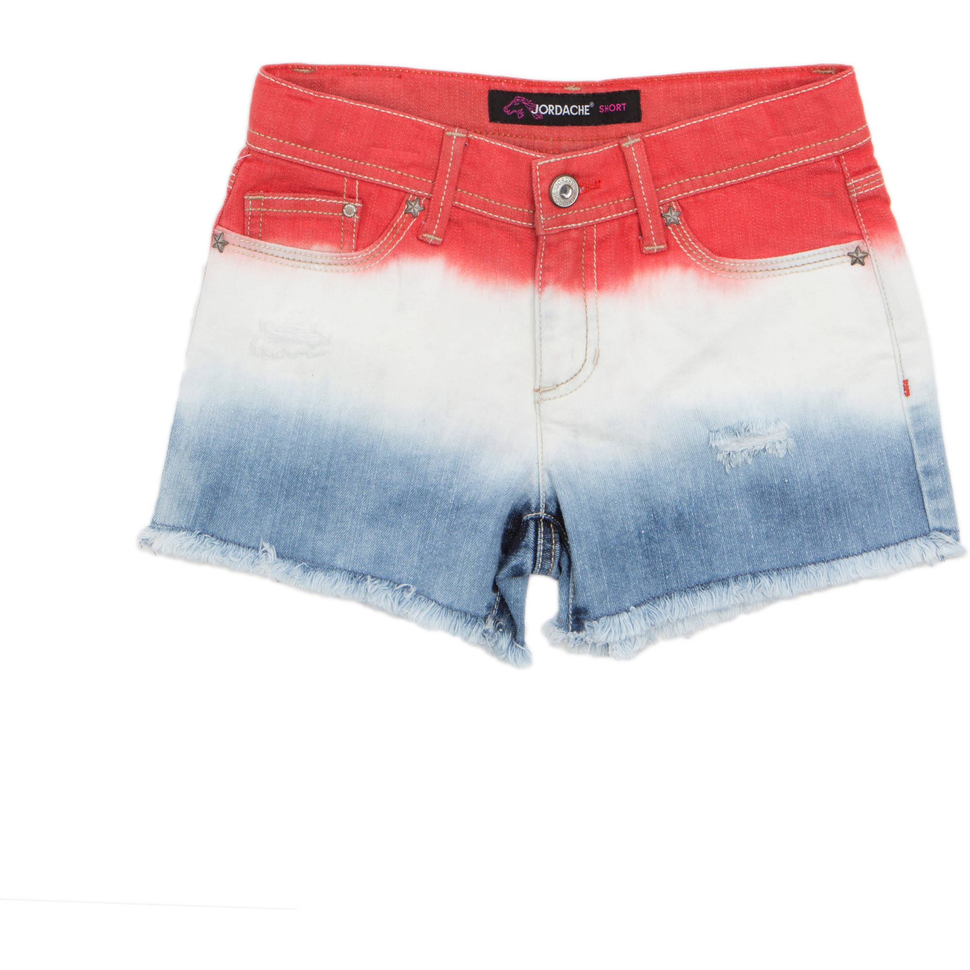 Jordache Girls' Americana Dip Dye Frayed Hem Denim Shorts