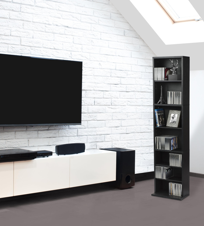 "Atlantic 54"" Herrin Media Storage Cabinet Shelf (114 DVDs, 261 CDs), Brown"