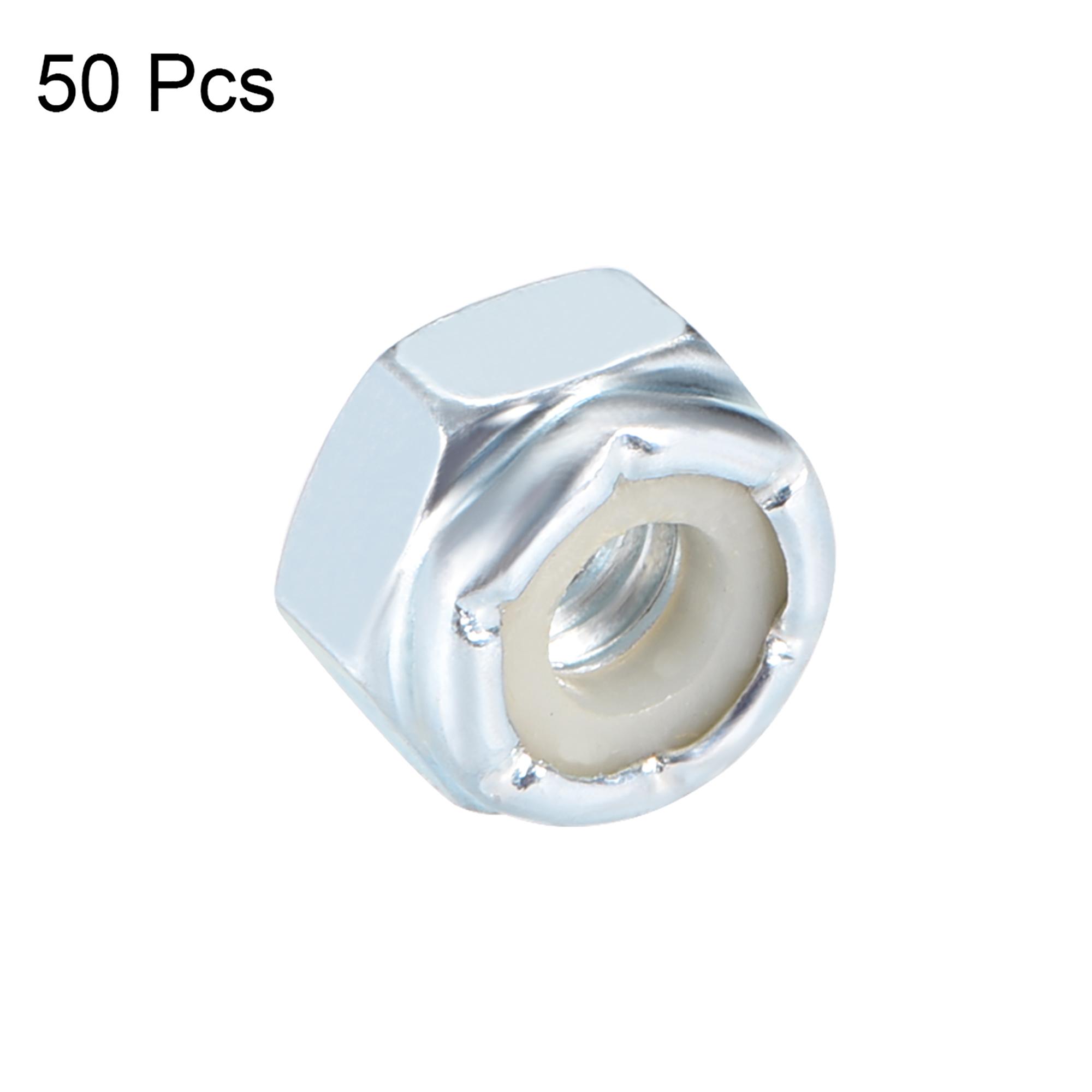 10#-24 Nylon Insert Hex Lock Nuts, Carbon Steel White Zinc Plated, 50 Pcs - image 1 de 3