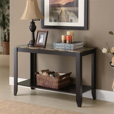 Pemberly Row Faux Marble Top Console Table in Cappuccino - image 1 of 2