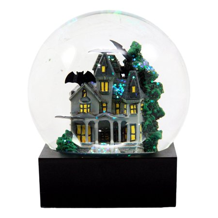 Ebros Wayne Manor Haunted House With Flying Bats Glitter Water Globe Collectible Figurine 4.25