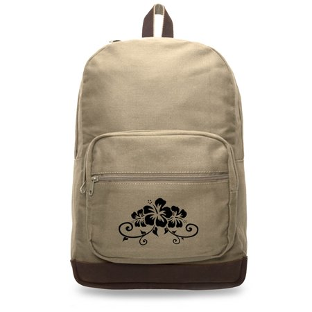 Grab A Smile Hawaiian Hibiscus Flower Canvas Teardrop Backpack