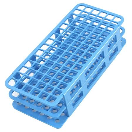 Unique Bargains Plastic 90 Positions Laboratory Test Tube Bracket Blue 12mm Hole ()