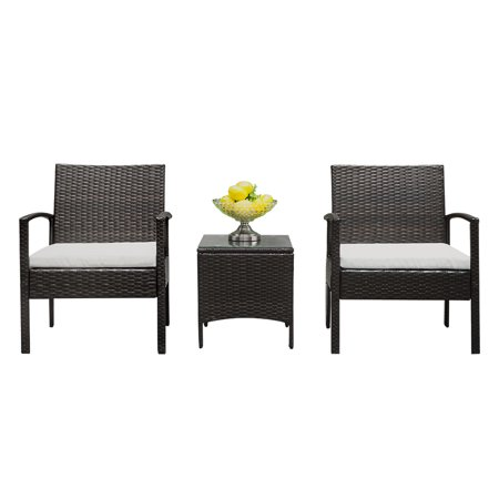 Patio Furniture Set in Patio & Garden, 3 Pieces Weather Resistant Outdoor Wicker Sofa Rattan Chair Garden Conversation Set, Bistro Sets with Coffee Table for Porch Poolside Backyard ,Q1256 ()