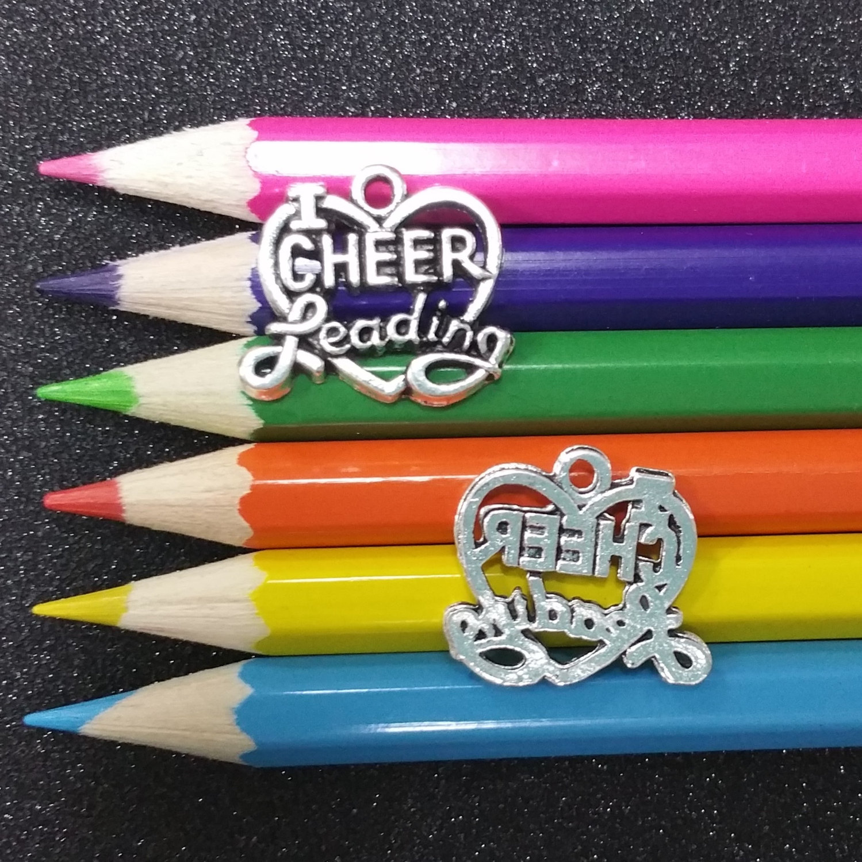 5 PCS Love Heart Cheerleading Cheerleader Word Message Silver Charm Pendant C1192 by