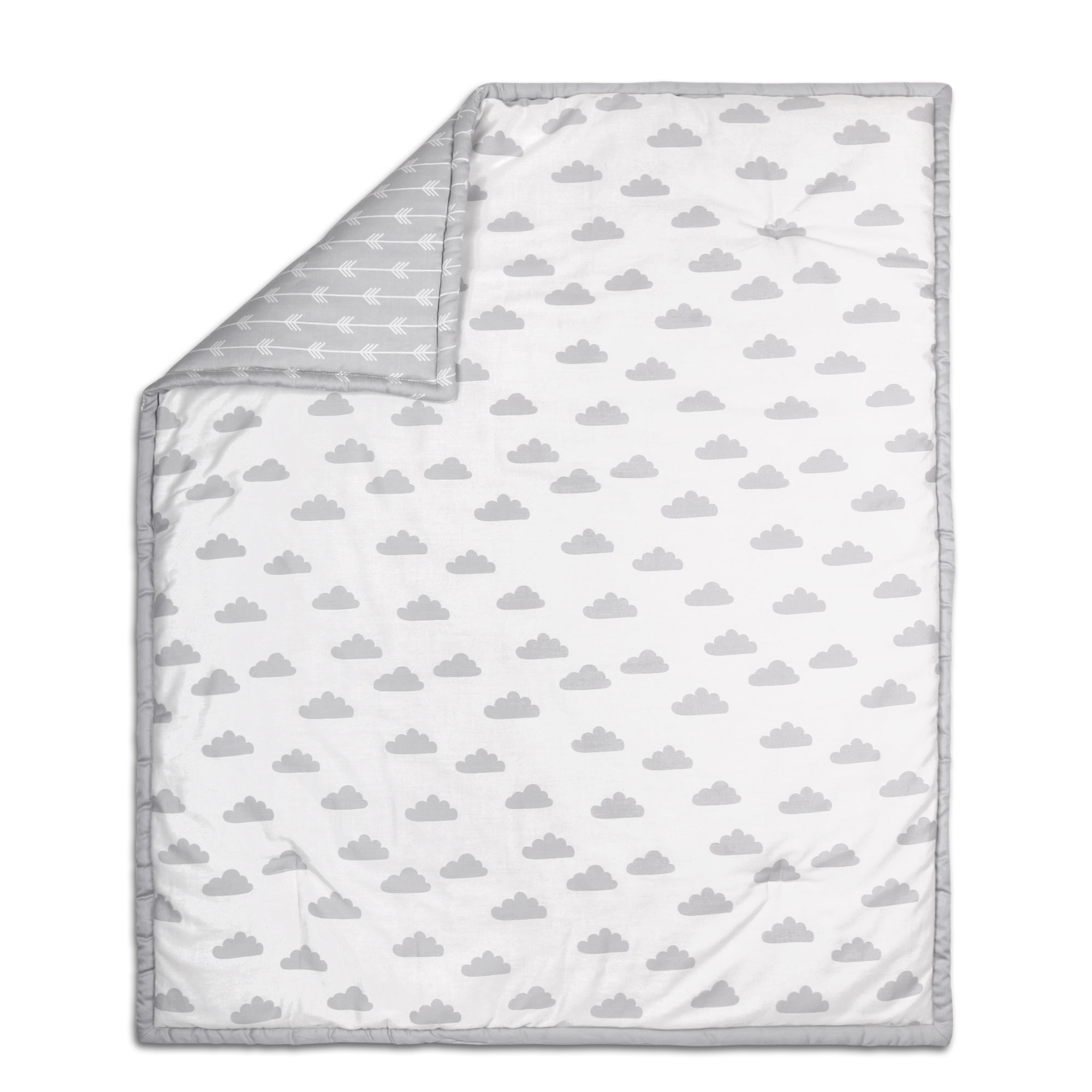 Peanut Shell Baby Crib Quilt - Grey on White Cloud and Ar...