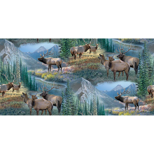 Springs Creative Wild Wings Mountain Sky Elk Scenic Fabric by the Yard