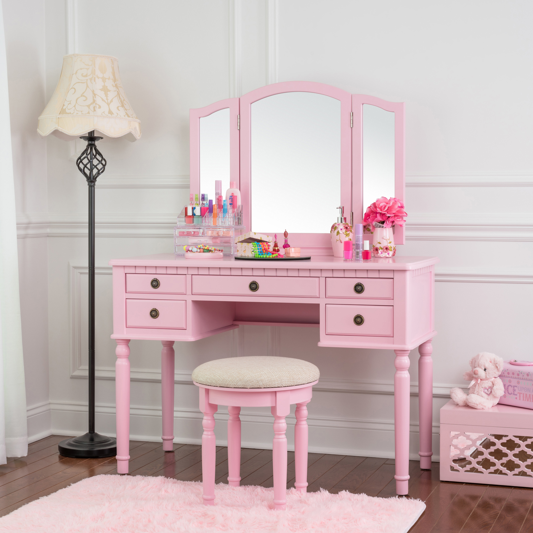 Delicieux Fineboard Dressing Set With Stool, Beauty Station Makeup Table, Three  Mirror Vanity Set, 5 Organization Drawers, Pink   Walmart.com