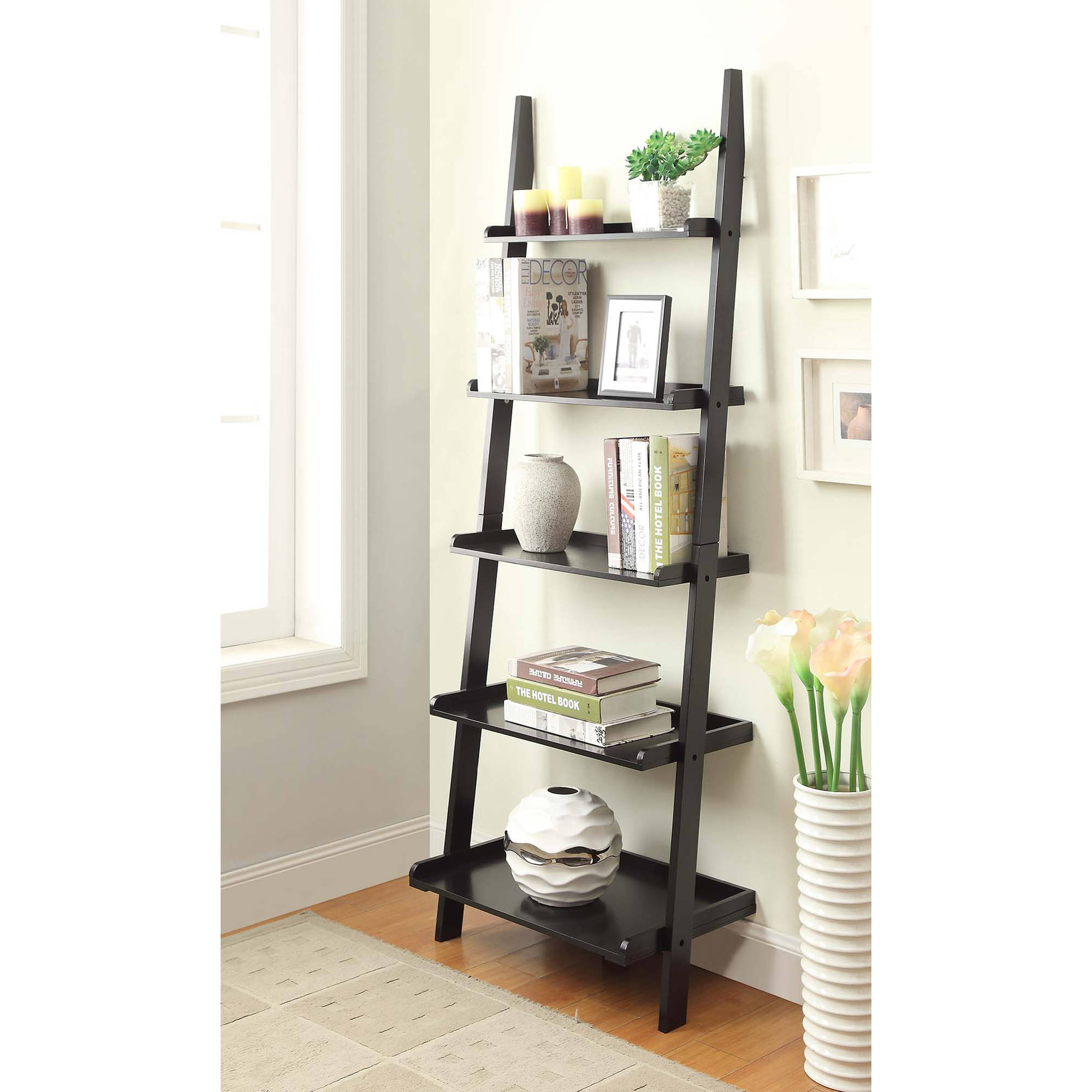 Convenience Concepts American Heritage 5-Shelf Ladder Bookcase, Multiple Finishes
