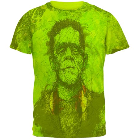 Halloween Frankenstein Raver Horror Movie Monster Mens T Shirt - Halloween Inspired Menu