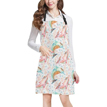 HATIART Watercolor Dolphins with Bubbles Polka Dots Lovely s Home Kitchen Apron for Women Men with Pockets, Unisex Adjustable Bib Apron for Cooking Baking Gardening - image 2 de 2