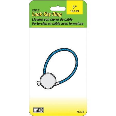 Hy-Ko KC124 Cable Key Ring, 5 in, Steel