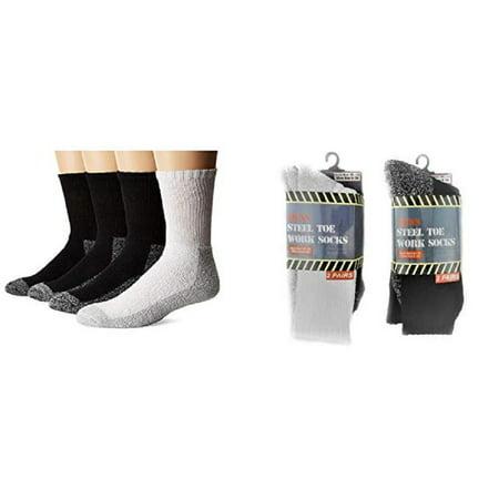 4 Pair Men's Thick Cushion Steel Toe Work Socks Warm Cotton Blend Sole Reinforced Heel & Toe