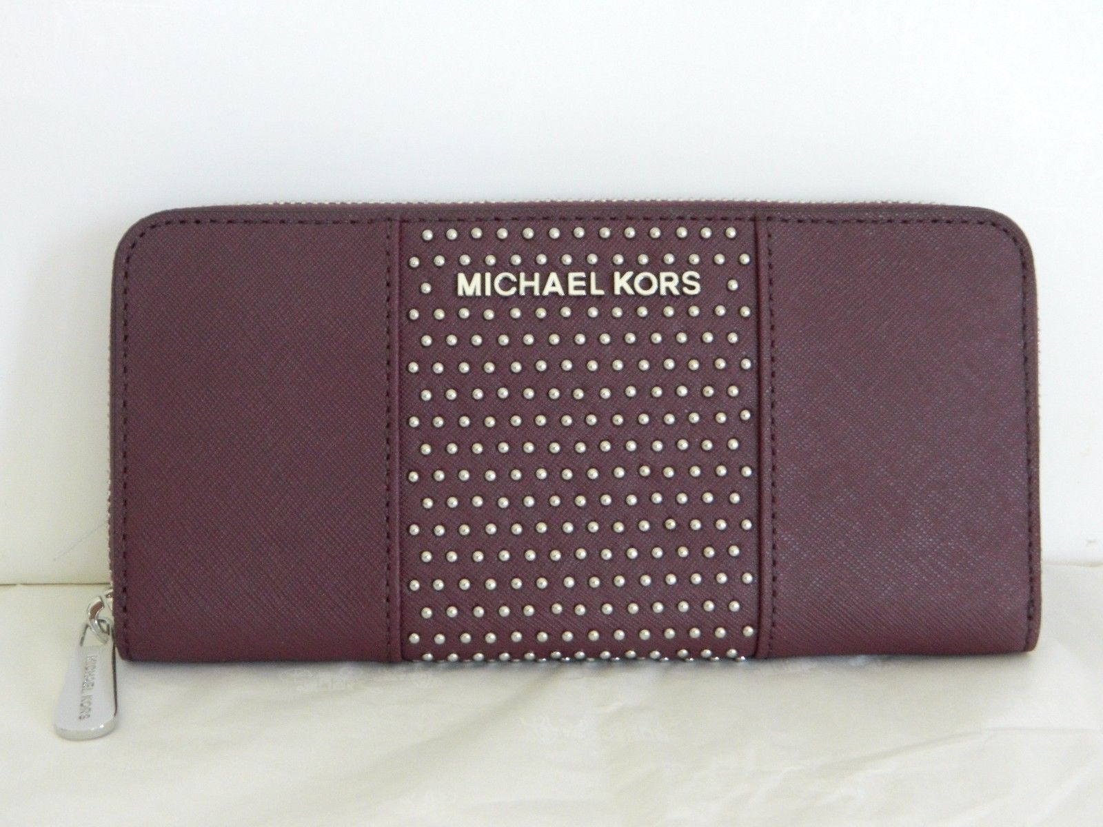 MICHAEL Michael Kors - MICHAEL KORS JSTVL PLUM MICRO STUD LTH ZA CONTINENTAL WALLET - Walmart.com
