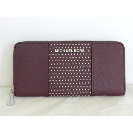 Fabric Continental Wallet - MICHAEL KORS JSTVL PLUM MICRO STUD LTH ZA CONTINENTAL WALLET