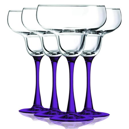 Amber Jewel Accents Glass (Purple Margarita Glasses with Beautiful Colored Stem Accent - 14.5 oz. set of 4- Additional Vibrant Colors Available by TableTop)