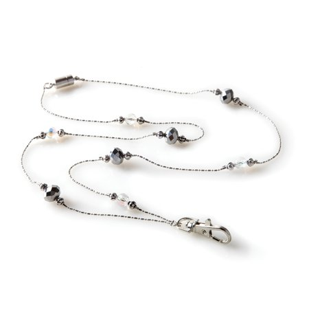 ID Avenue Beverly Hills Beaded Fashion Lanyard, Silver