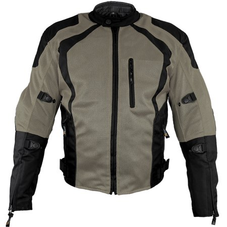 Xelement XS3033 Cyclone Mens Black/Grey Mesh Tri-Tex Armored Motorcycle Jacket