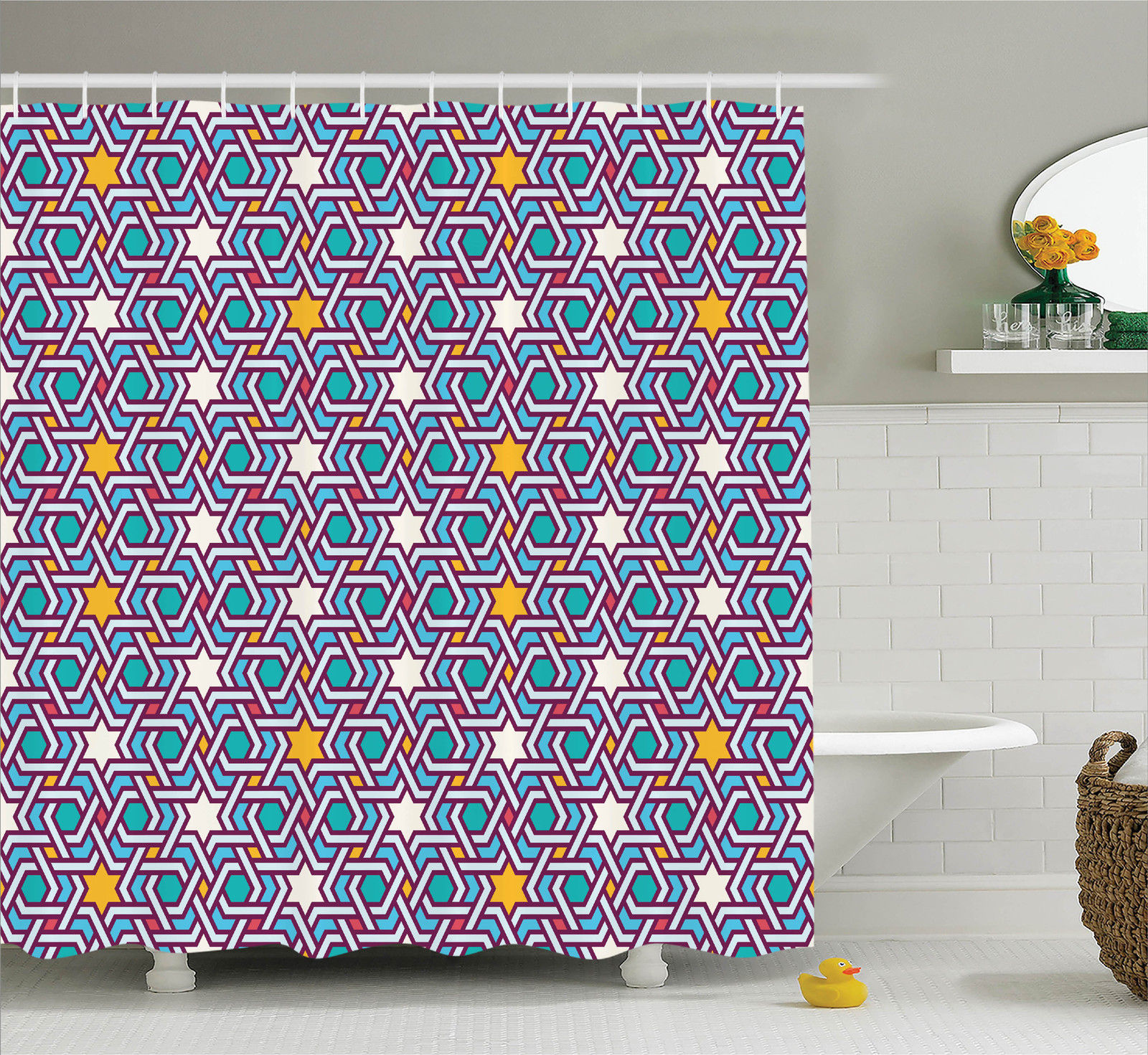 Arabian Decor  Geometric Lines And Stars Based On Traditional Oriental Eastern Islamic Artistic World Past, Bathroom Accessories, 69W X 84L Inches Extra Long, By Ambesonne