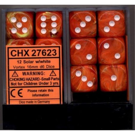Chessex Dice d6 Sets: Vortex Solar Orange Marble with White - 16mm Six Sided Die 12 Block of Dice