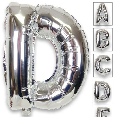 Just Artifacts Shiny Silver (30-inch) Decorative Floating Foil Mylar Balloons - Letter: D - Letter and Number Balloons for any Name or Number - Silver Mylar Balloons