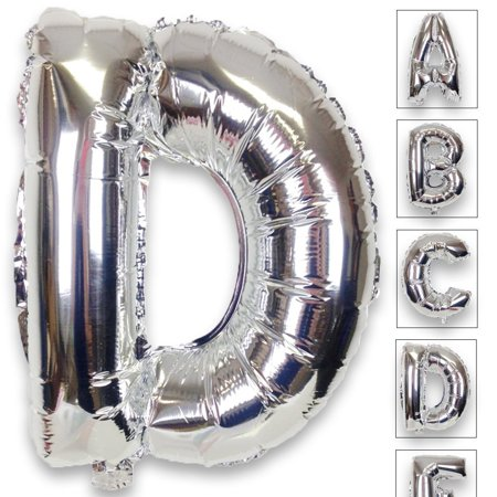 Just Artifacts Shiny Silver (30-inch) Decorative Floating Foil Mylar Balloons - Letter: D - Letter and Number Balloons for any Name or Number Combination! - Silver Letter Balloons
