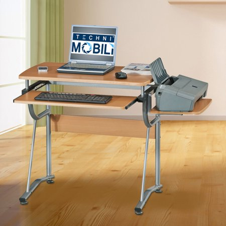Shelving Side Panel - Techni Mobili Compact Computer Desk With Side Shelf And Keyboard Panel, Cherry