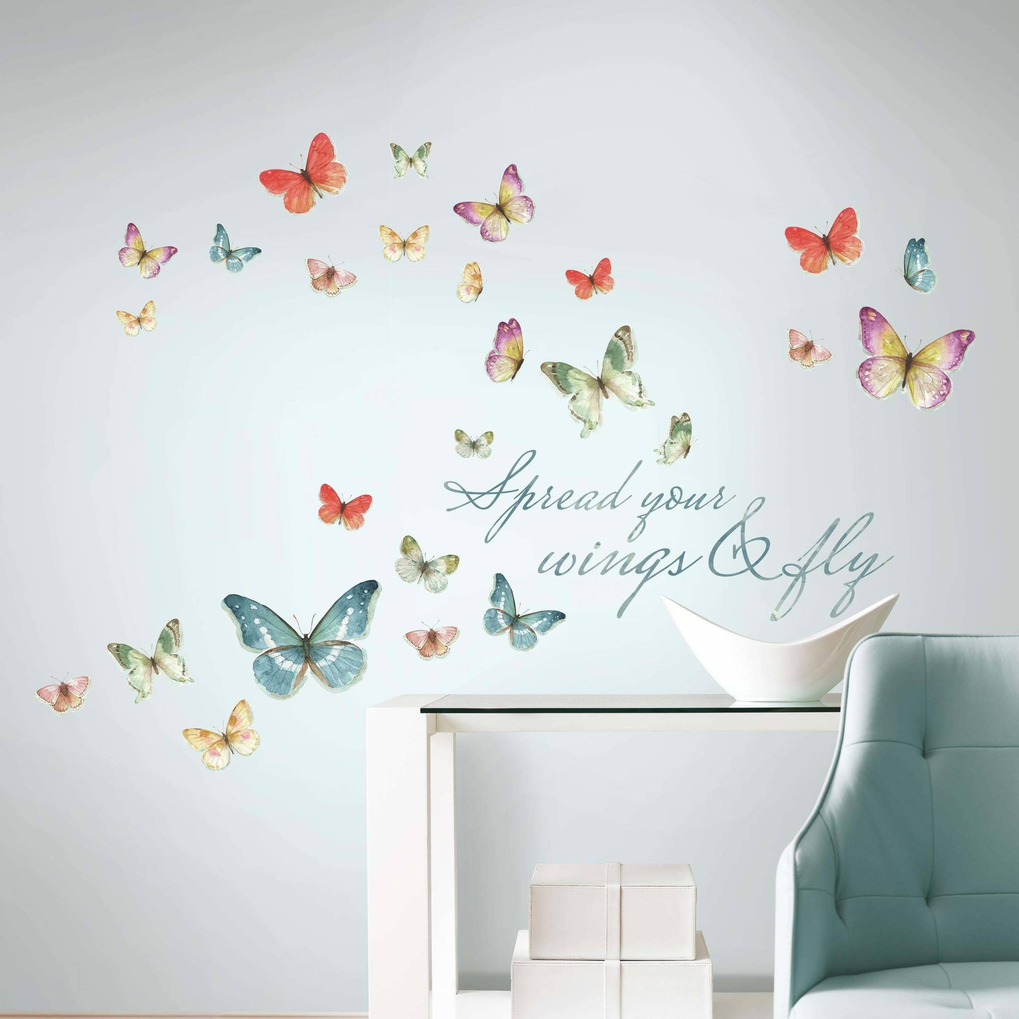 Roommates Lisa Audit Butterfly Quote Peel And Stick Wall Decals