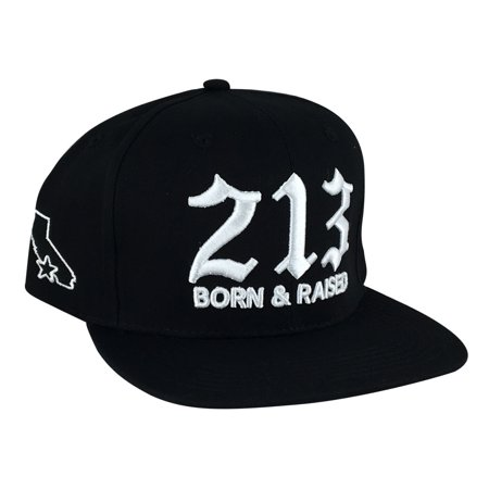 Cali 213 Born & Raised High Crown Snapback Hat Cap by CapRobot - Black (High Crown Cap)