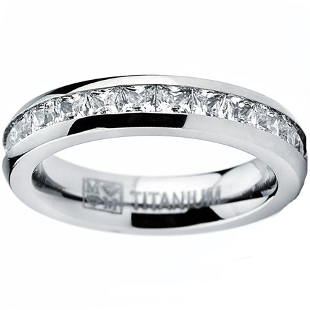 Eternity Wedding Ring - 4MM High Polish Princess Cut Ladies Eternity Titanium Ring Wedding Band with CZ Sizes 4 to 11