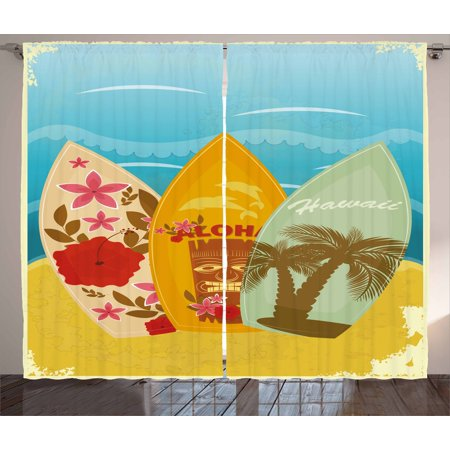 Tiki Bar Curtains 2 Panels Set, Hawaiian Beach Surfboards on the Sand Exotic Summer Vacation Sport Vintage Style, Window Drapes for Living Room Bedroom, 108W X 96L Inches, Multicolor, by (Island Tiki Bar)