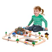 KidKraft Bucket Top Mountain Wooden Train Set with 61 accessories included