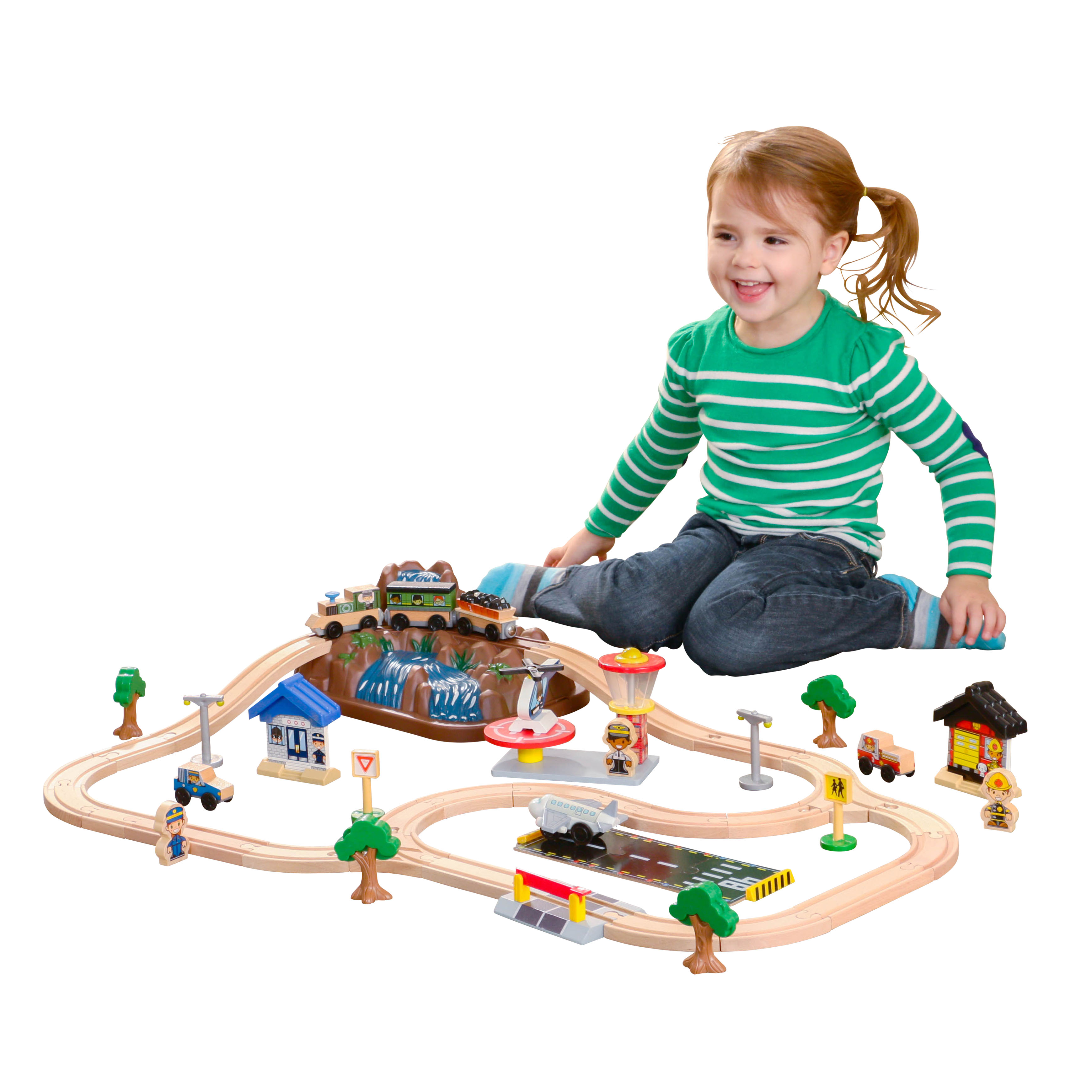 KidKraft Bucket Top Mountain Train Set with 61 accessories included