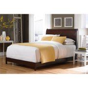 Bridgeport Complete Wood Bed and Bedding Support System with Curved Sleigh Headboard, Espresso Finish, King