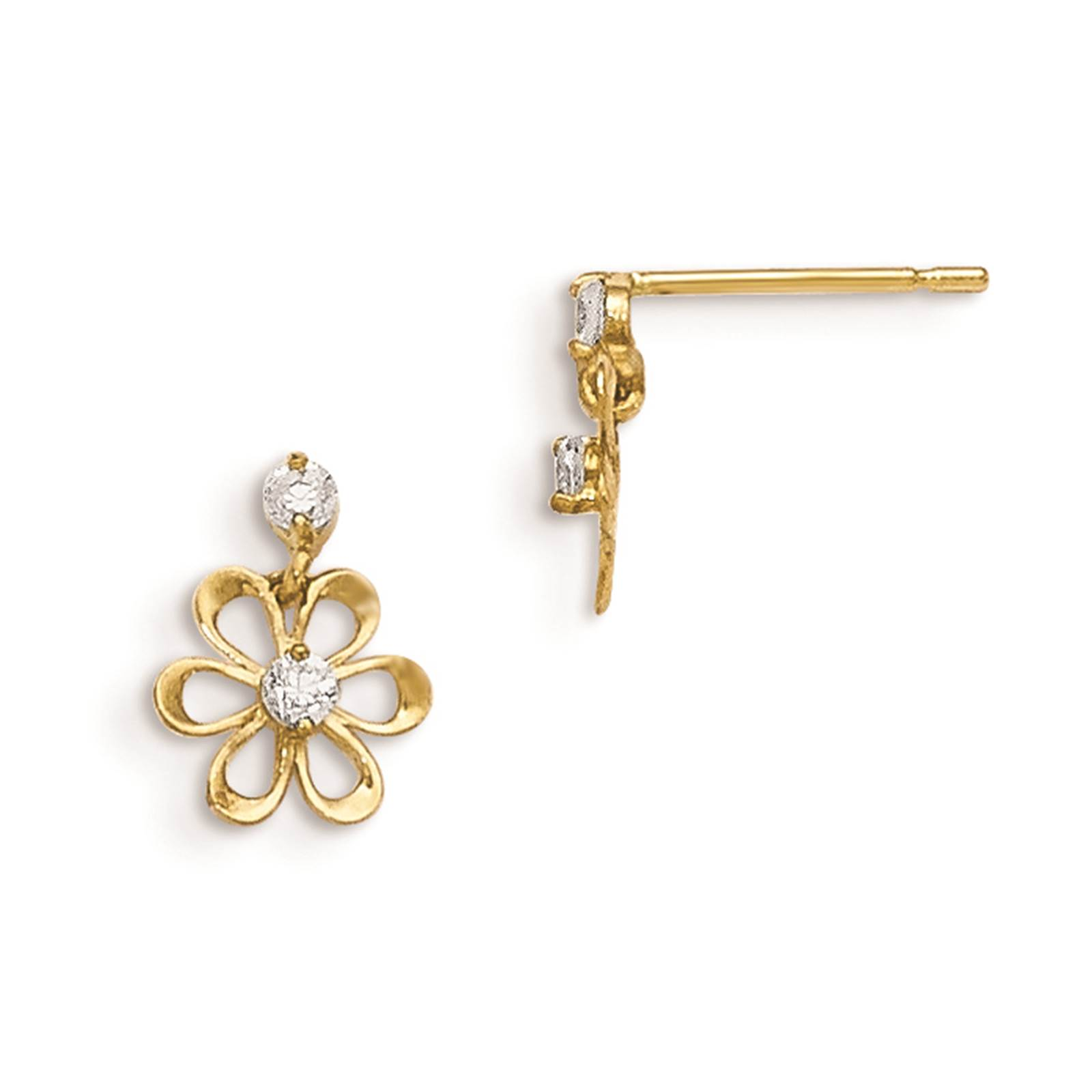 Madi K 14k Yellow Gold Children's Flower Dangle Post Earrings