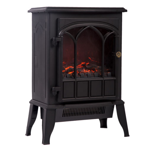 750W/1500W Electric Fireplace Heater Log Flame Stove Portable Heater Free  Standing