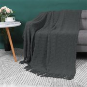 100% Acrylic Knit Throw Blanket Soft Lightweight Wave Pattern Blanket with Tassels Fringe for Couch Dark Gray