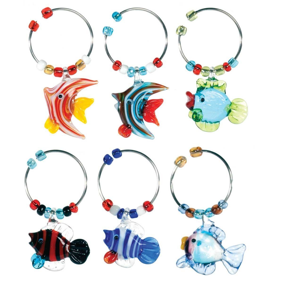 Oenophilia Wine Glass Charms, Sealife - Set of 6
