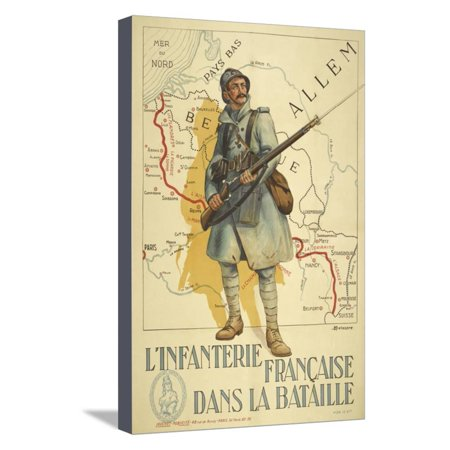 Poster Depicting a French Infantry Soldier, Holding a Rifle. a Map Of Europe Behind Him Stretched Canvas Print Wall