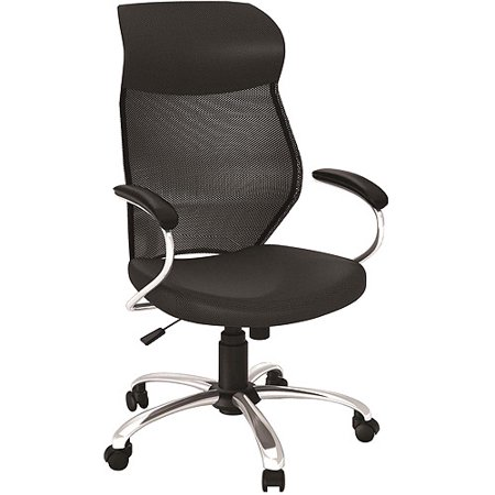 Black Mesh Manager Chair With Chrome Base