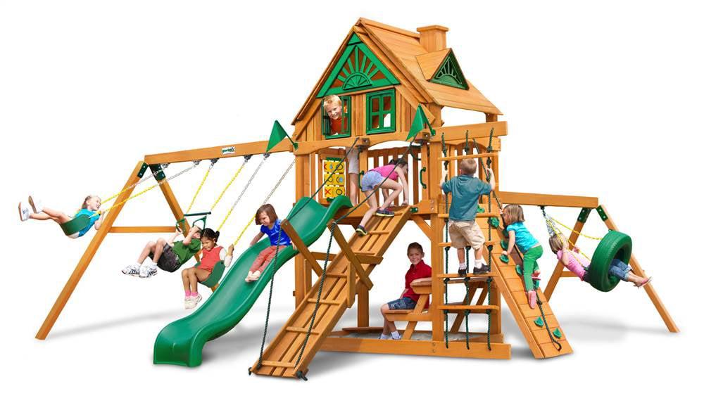 Juguetes Exterior Para Niños Treehouse de columpios con acabado ámbar + Gorilla en Veo y Compro