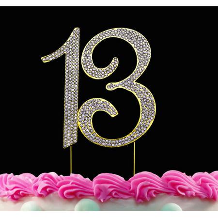 Bling Birthday Decorations (13th Birthday Cake Toppers Gold Bling Cake Topper 13 Birthday)