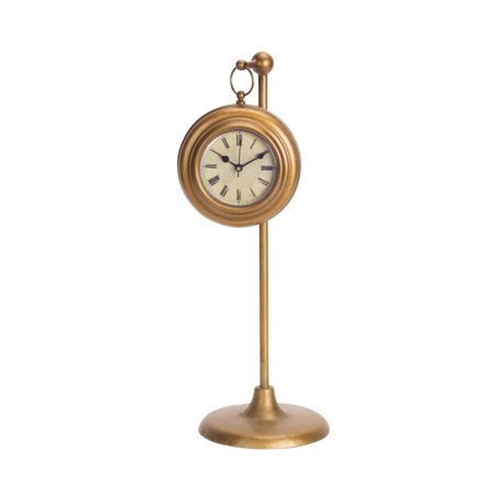 - Pack of 2 Old Fashioned Roman Numeral Hanging Bronze Clock with Stand 16.5""
