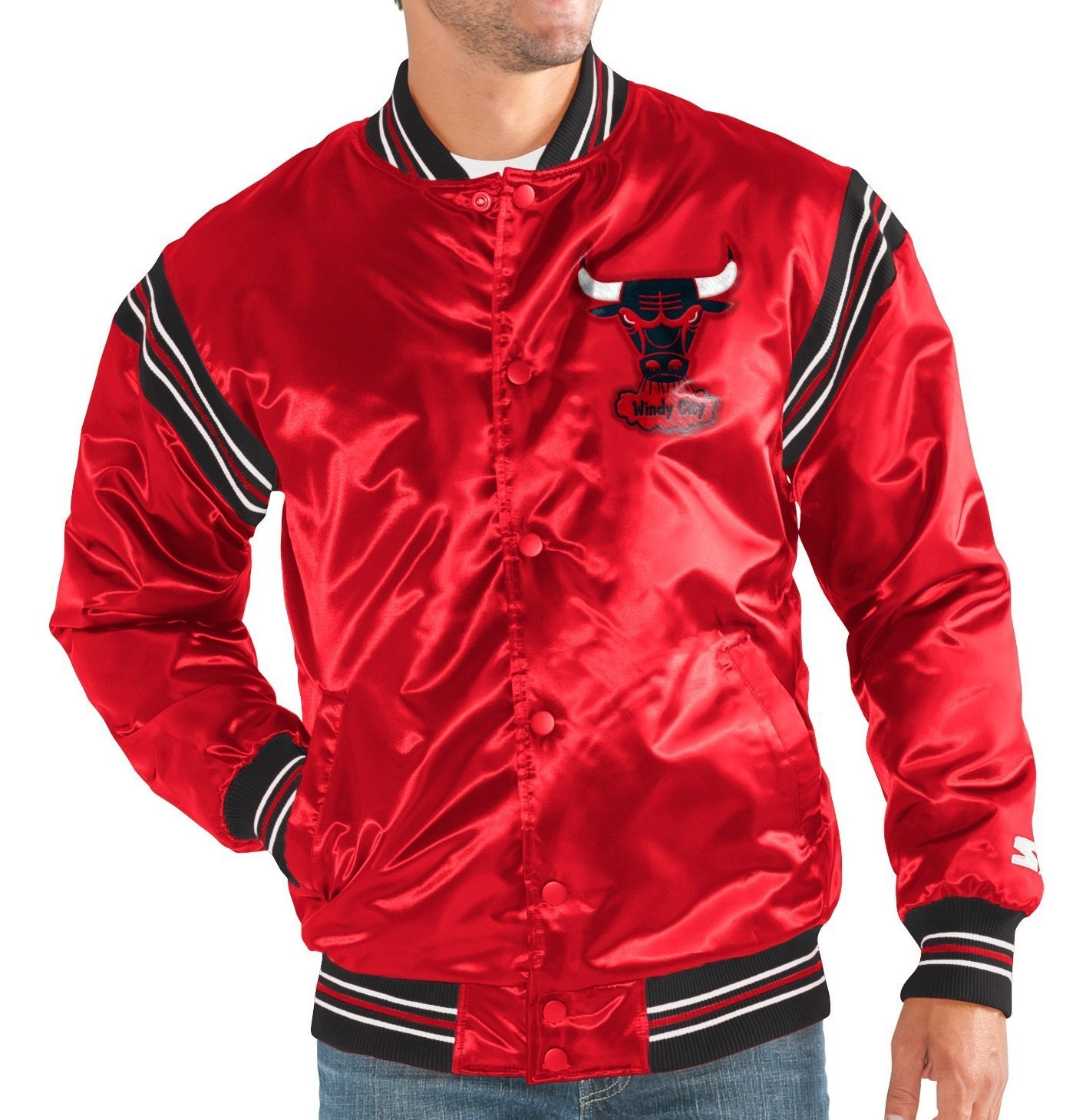 "Chicago Bulls Men's Starter ""The Enforcer"" Premium Satin Jacket by Starter"