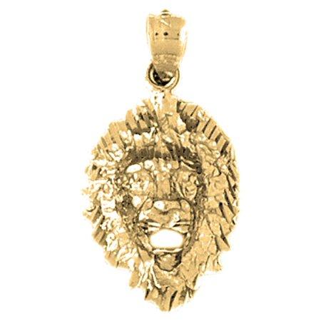 Jewels Obsession - 10K Yellow Gold Lion Head Pendant - 27 mm - Walmart.com 37c009b41e