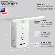 Socket Shelf- 8 Port Surge Protector Wall Outlet 6 Extender Outlet 2 USB Port